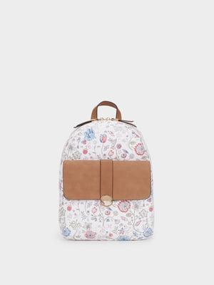 Рюкзак белый в цветочный принт | 5370529