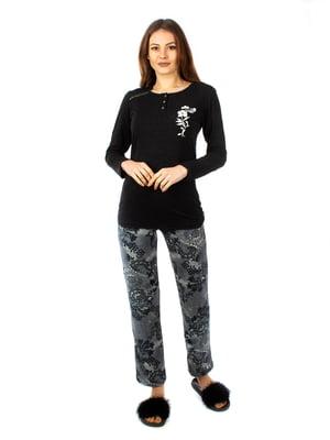 Пижама -  лонгслів і штани — темно-сірого кольору | 2408879
