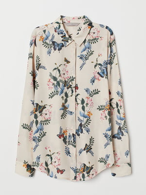 Блуза светло-бежевая в принт   5380822