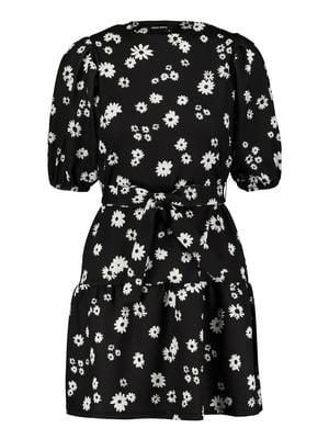 Платье черное в цветочный принт | 5368220
