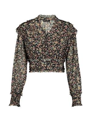 Блуза чорна в квітковий принт | 5368308