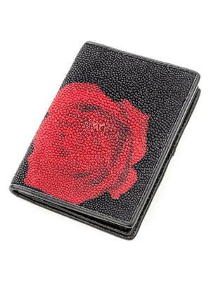 Визитница черная с цветочным принтом | 5382244