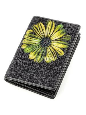 Визитница черная с цветочным принтом | 5382246