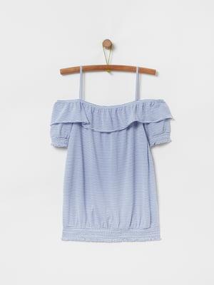 Блуза голубая в полоску | 5372384