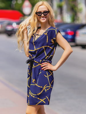 Сукня синя з принтом | 5383771