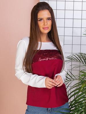 Блуза двухцветная с декором | 5383803