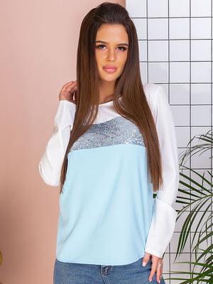Блуза двоколірна з декором   5383804