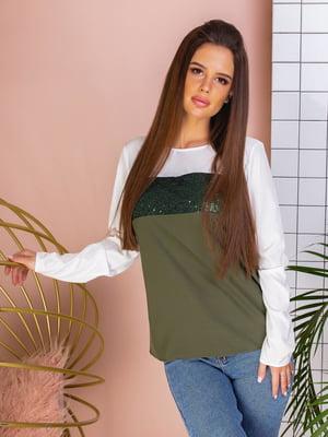 Блуза двухцветная с декором | 5383807