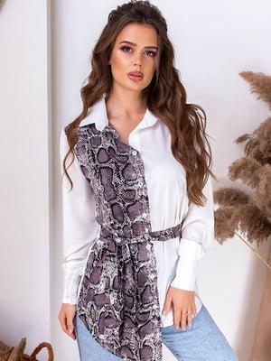Блуза белая с анималистическим принтом   5383815