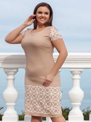Сукня бежева з візерунком   5383843