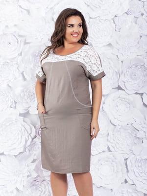 Сукня біло-бежева | 5383847