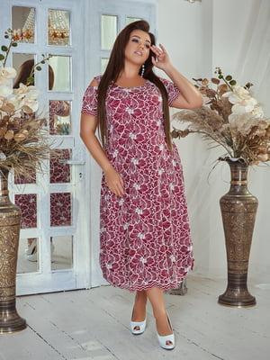 Сукня бордова з квітковим принтом | 5383850