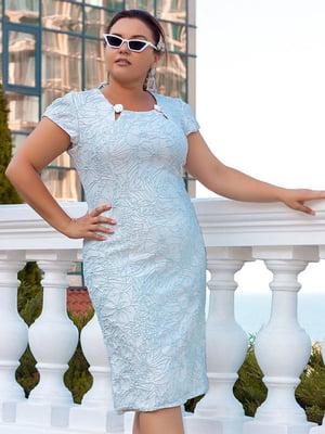 Платье голубое с цветочным рисунком | 5383866