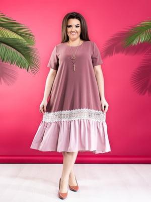 Сукня двокольорова з мереживним оздобленням | 5383886
