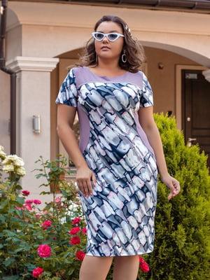 Сукня бузкова з абстрактним принтом | 5383887