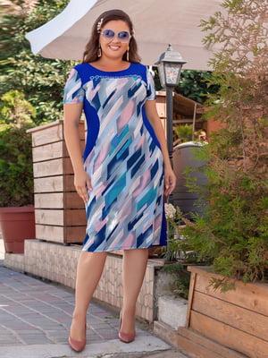 Сукня синя з абстрактним принтом | 5383888