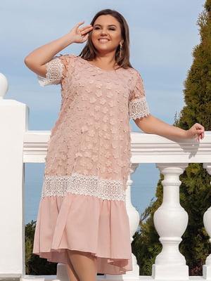 Сукня кольору пудри з декором | 5383891