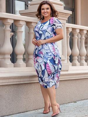 Платье сиреневое с принтом   5383894