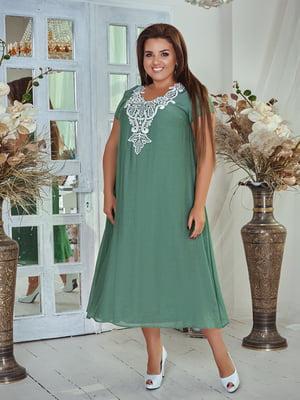 Платье зеленое в узор | 5383899