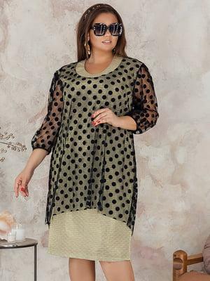 Платье оливкового цвета в горох | 5383903
