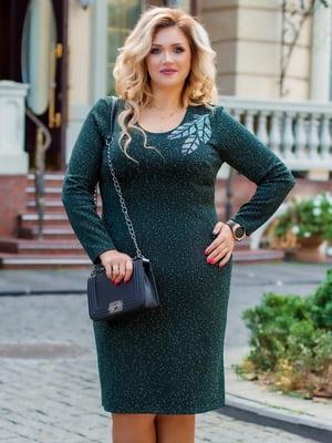 Платье темно-зеленое с рисунком | 5383917