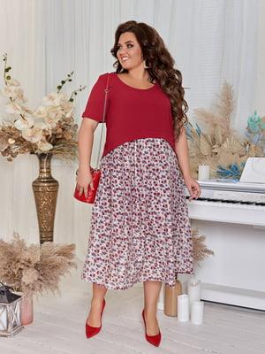Платье бордовое с цветочным принтом | 5383943