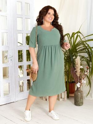 Платье зеленое в полоску | 5383949