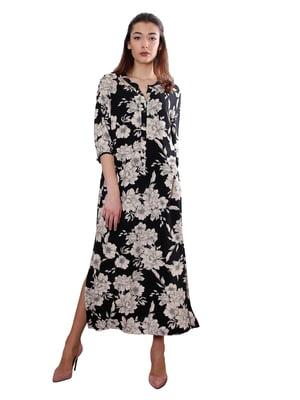 Сукня чорна в квітковий принт | 5385081