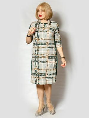 Платье зеленое в принт | 5385100