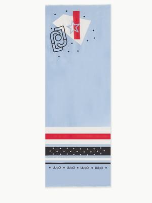 Шарф блакитний з принтом | 5384036