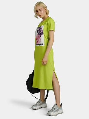 Сукня салатова з принтом | 5384179