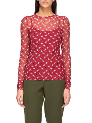 Блуза червона з принтом | 5384236