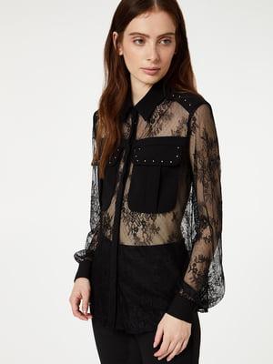 Блуза чорна в принт | 5384101