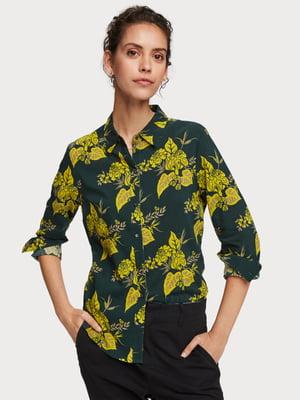 Рубашка зеленая с принтом | 5384845