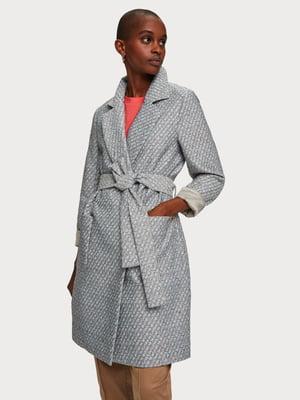 Пальто сіре з візерунком | 5384850