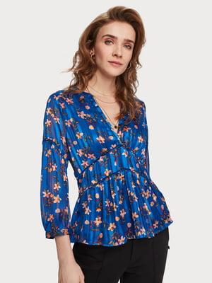 Блуза синяя с принтом | 5384906