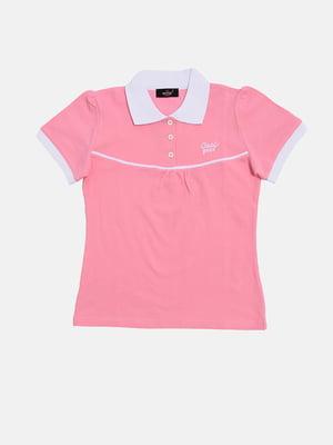Футболка-поло рожева з принтом | 5387370