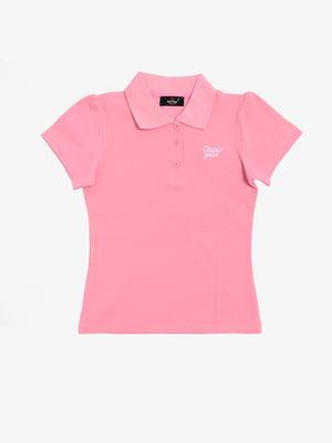 Футболка-поло рожева з принтом | 5387372