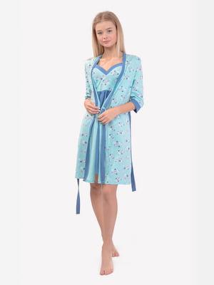 Комплект: халат и ночная рубашка для кормления | 5387414