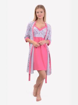 Комплект: халат и ночная рубашка для кормления | 5387415