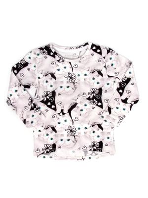Лонгслив черно-белый с принтом | 5387640