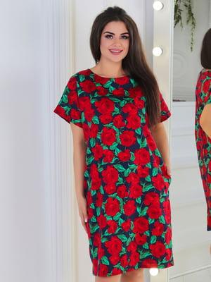 Сукня синя з квітковим принтом | 5387714