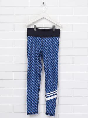 Леггинсы синие с принтом | 5388129