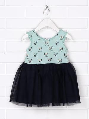 Платье комбинированной расцветки с принтом   5388280