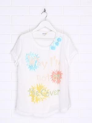 Блуза біла з принтом | 5388359