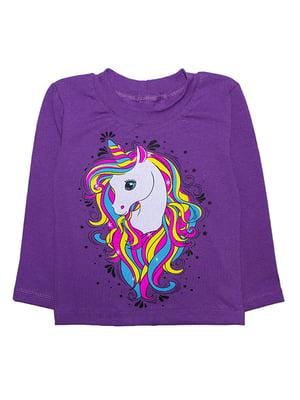 Джемпер фиолетовый с принтом | 5388416