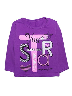 Лонгслив фиолетовый с принтом | 5388417