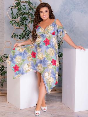 Сукня бузкова з принтом | 5389496