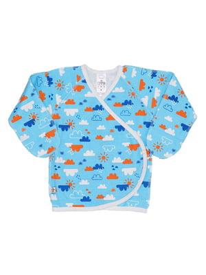 Сорочечка блакитна з принтом | 5394163