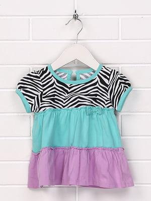 Блуза комбінованого кольору з принтом | 5394355